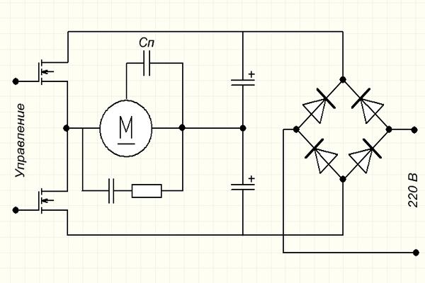Электронная схема трансформатора регулировки вращения двигателя
